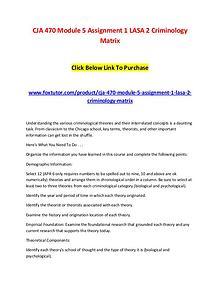 CJA 470 Module 5 Assignment 1 LASA 2 Criminology Matrix