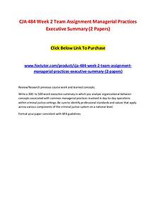 CJA 484 Week 2 Team Assignment Managerial Practices Executive Summary