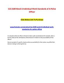 CJE 2100 Week 6 Individual Work Standards of A Police Officer