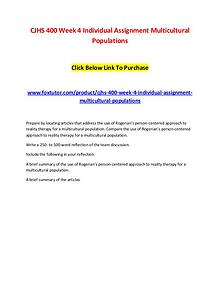 CJHS 400 Week 4 Individual Assignment Multicultural Populations