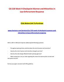 CJS 210 Week 4 Checkpoint Women and Minorities in Law Enforcement Res