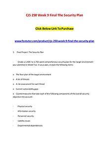 CJS 250 Week 9 Final The Security Plan