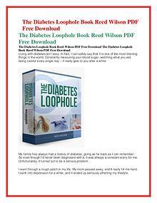 Reed Wilson :The Diabetes Loophole PDF /eBook