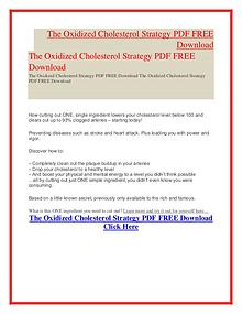 The Oxidized Cholesterol Strategy Ebook Review PDF FREE Download