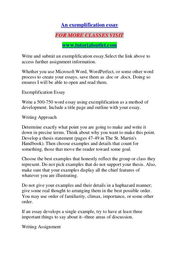 An Exemplification Essay Tutorialoutlet Dot Com An Exemplification