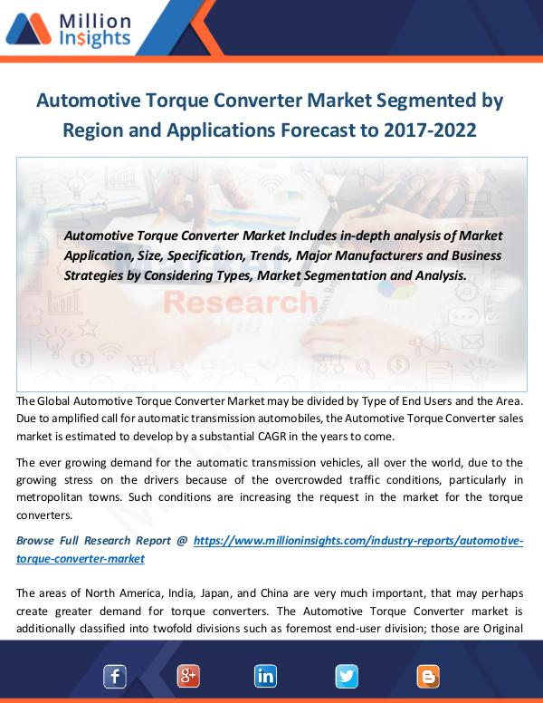 Automotive Torque Converter Market Automotive Torque Converter Industry 2017 Market