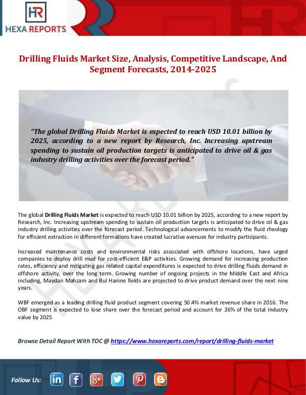 global drilling fluids market 2014 to In this report, the global drilling fluids market is valued at usd xx million in 2016 and is expected to reach usd xx million by the end of 2022, growing at a cagr of xx% between 2016 and 2022 geographically, this report split global into several key regions, with sales (k mt), revenue (million usd.