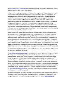 North America Fruit Powders Market Analysis (2016-2021) – Market Data