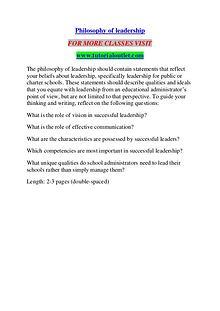 PHILOSOPHY OF LEADERSHIP / TUTORIALOUTLET DOT COM