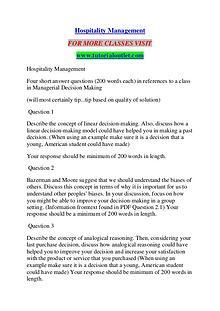 HOSPITALITY MANAGEMENT / TUTORIALOUTLET DOT COM