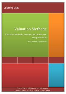 Valuation Methods- Venture care| know your company worth