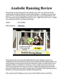 Anabolic Running PDF / Workout Program Free Download