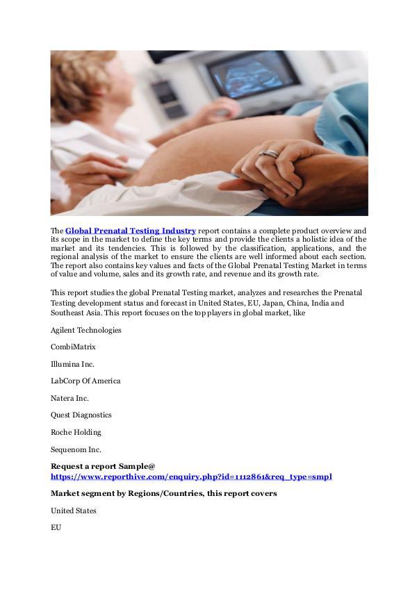 global prenatal testing market 2014 2018 Technavio announces the publication of its research report – prenatal testing market in the us 2014-2018.