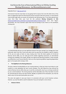 Cut Down the Cost of International Move in USA by Availing Moving All