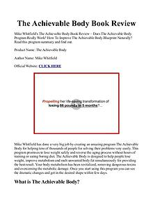 The Achievable Body Blueprint And Bonuses PDF / eBook Free Download