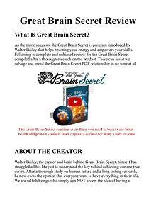 The Great Brain Secret PDF / Book, Protocol Free Download