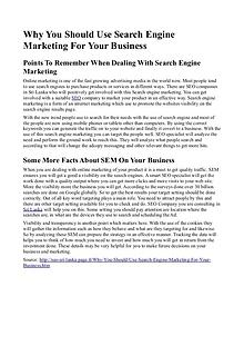 Why You Should Use Search Engine Marketing For Your Business