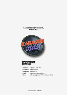 Cancionero Karaoke Bits - marzo 2018