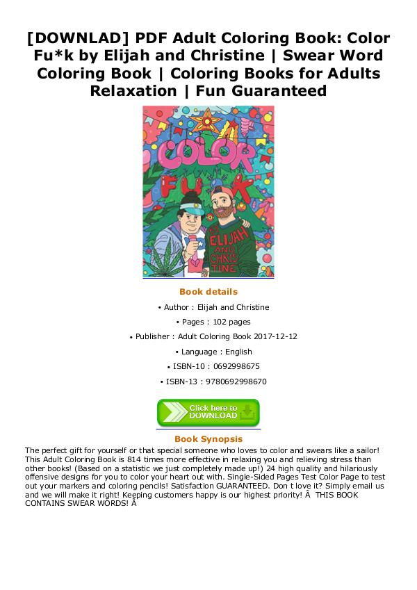 DOWNLOAD PDF Jah And Christine Swear Word Coloring Book Books For Adults Relaxation Fun Guaranteed