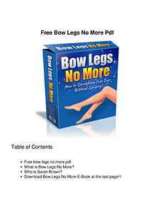 Bow Legs No More PDF EBook Free Download