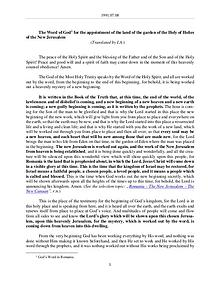 The Word of God in Romania f the land of the garden of the Holy of Holies of the New Jerusalem