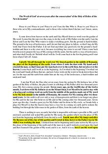 The Word of God in Romania e consecration of the Holy of Holies of the New Jerusalem