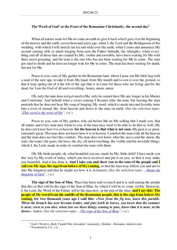 The Word of God in Romania omanian Christianity, the second day 2002.06.23 - The Word of God at the Feast of the R