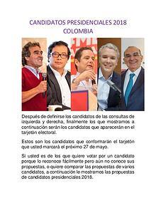 CANDIDATOS PRESIDENCIALES COLOMBIA 2018